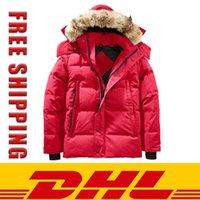DHL Freeshiping Winter Parka ropa exterior Lobo de piel con capucha Canadá Chaqueta abajo Capas de calidad superior HIVER Doudoune 90% pato blanco abajo Abrigo Parker