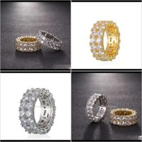 Cluster Rings Jewelry Hip Hop Micro Set Gold Mens Couple Double Row Zircon Ring 712 Edpuq Fpsgq