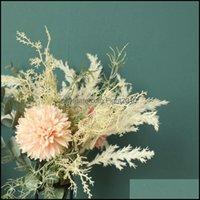 Decorative Festive Supplies Gardendecorative Flowers & Wreaths 1Bouquet Pampas Grass Artificial Eucalyptus Leaves Rose Silk Fake Flores Wedd