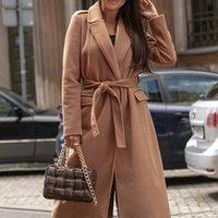 Women's Wool & Blends Autumn Winter Elegant Long Sleeve Coats For Women Office Lady Overcoat Windproof Coat Fashion Windbreaker Overcoats 20
