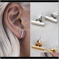 Jewelry Fashion Gold Sier Plated Black Punk Simple T Bar For Women Ear Stud Line Earrings Fine Jewelry Minimalist Drop Delivery 2021 Frtp3