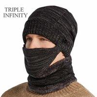 Dreifache Infinity New Winter Beanie Hut Für Männer Männliche dicke winddichte Komfortable Warme Strickmütze Schalkaps Radfahren Motorhaube Hüte