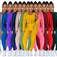 Plus Size Women Tracksuits Sport Suit 2021 Fall Winter Hooded Zipper Sweater Yoga Pants Sports Three Piece Set + Vest S-4XL