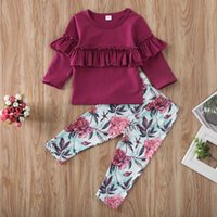 Clothing Sets Infant Baby Girls 2pcs Clothes Ruffle Long-sleeved Top Romper Flower Trousers Set