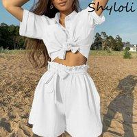 Women's Trainingsanzüge Shyloli Europäische und amerikanische 2-teilige Klage 2021 Womens Solid Color Single Breaked Short Sleeved Shirt mit Riemen Fashio