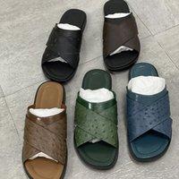 2021 Mens designer Sandal Sandal Foch Mutres Pantoufle riche en cuir d'autruche Summer Mode Plage Chaussures Flip Flop avec boîte grande taille 40-47 N °282