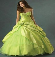 Vintage Sweet 15 Dress Lime Green Quinceanera Dresses Ball Sweetheart Beaded Prom Gown Evening Formal With Flower 2021 Robe De Mariée Brithday Women Party Wear