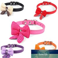 Cute Knit Pet knot Cat Dog Collar Adjustable Leather Necklace Small Puppy Fashion Collar Chihuahua Black Red Rose red