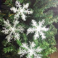 New Snowflake Christmas Decoration Snowflake Christmas Tree Pendant Plastic Silk Snow Flakes Xmas Festive Party Supplies GWD11078