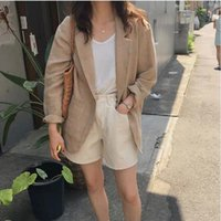 Women's Jackets FairyNatural 2021 Female Retro Linen Loose Spring Fall Solid Color Women Turn Down Collar Button Coats