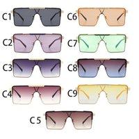 Модный металл Sounoined Piece Женская большая коробка Корейский модные солнцезащитные очки Новый стиль