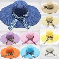 Wide Brim Hats Beautiful Fashion Women Bow Leopard Print Big Straw Hat Sun Floppy Beach Cap Chapeau Femme Ete #3