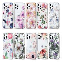 Claras florales a prueba de golpes para mujer Cajas de teléfono celular para iPhone 12 11 Pro Max XR XS 8 7 PLUS ULTRA IMD HERMOSO Patrón de flores hermoso