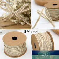 Party 5M Roll Width 0.5cm Jute Burlap Rolls Hessian Ribbon With Lace Vintage Rustic Wedding DecorationDIYOrnament Decor