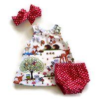 Girl's Dresses Born Baby Girl Clothes Toddler Floral Headband Cartoon Dress Dot Shorts Outfits 0-24M 3pcs Sets