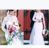 Sheer Lace Long Sleeves Mermaid Wedding Dresses 2020 Sexy High Neck Boho Beach Wedding Gowns Country Bridal Dresses Custom Vestidos de Novia