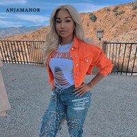 Anjamanor Jean Crop Bomber Jacke Neon Candy Solide Farbe Denim Mäntel und Jacken Frauen Windbrecher Langarm Oberbekleidung D52AE211