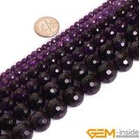 Lösa ädelstenar klassrunda facetterade lila ametist ädelstenar pärlor naturligt för smycken gör sträng 15 tum