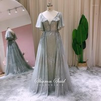 Sparkly Sequin Silver Grey Arabic Evening Dress With Cape Sleeve Overskirt Dubai Women Wedding Party Gown Long Formal Prom Dresses1