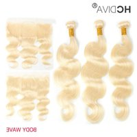 Straight 13x4 Body Blonde With Lace Frontal Human Peruvian Ear Wave Bundles Eer Transparent Wet Curly HD And Wavy Water 613 Hair To Quubp