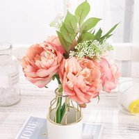 Pink Silk Artificial Peony Flowers for Wedding Home Decoration Blooming Fake Flower Big Bouquet Living Room Table Arrangement