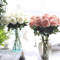 신선한 장미 진짜 터치 인공 꽃 장미 꽃 홈 장식 웨딩 파티 생일 가짜 천으로 꽃 hwe8216