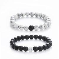 Handmade jóias atacado pulseira frisada fosco preta preta frisada pulseira de turquesa moda artesanal frisado artesanato pulseira jóias