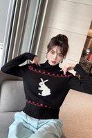 908 2021 Autumn Brand Same Style SweateTop Long Sleeve Pullover Crew Neck Kint Sweater Kint Sweater Black Women Clothes fangle