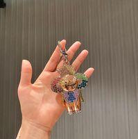 Maré marca boneca girassol key carteiras de luxo strass carta mulheres keychain saco acessórios moda homens carro chaveiros negócios casual