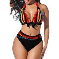 S-5XL плюс размер неоновый полосатый бикини набор толчок женщин высокая талия Halter пляж купальники ретро бантом купальный костюм купальный костюм
