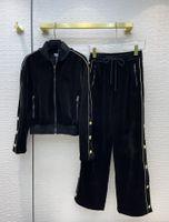Kadın İki Parçalı Pantolon 2021 Sonbahar Kış Moda Boncuk Ceket Ve Uzun Pantolon Marka Aynı Stil 2 Parça Setleri Kadınlar 1007-11