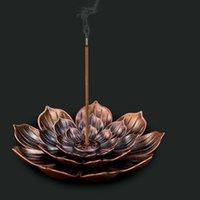 2 in 1 Yaratıcı Tütsü Sopa Tutucu Ev Dekorasyon Alaşım Lotus Çizgi Tepsiler Burner Metal El Sanatları Sandal Ağacı Bobin Baz Kırmızı Bronz