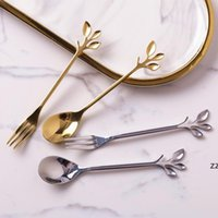 Creative 304 Stainless Steel Leaf Coffee Stirring Dessert Spoon Fruit Fork Pick Gold and Silver Two Colors Optional OWF11183
