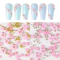 Beyaz / Pembe / Siyah Akrilik Çiçekler Reçine Dolguları DIY Çiviler Aksesuarları Karışık Boncuk Nail Art Dekorasyon Malzemeleri