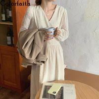 Casual Dresses Colorfaith 2021 Women's Autumn Winter V-Neck Puff Sleeve Dot Elegant Vintage Chiffon Fashionable Long Dress DR538