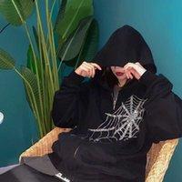 Gothic Rhinestone Spider Web Hot Strass Rits Hoodie Couple Trend Harajuku Punk Oversized Dress Sweater Women and Men
