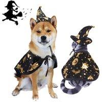 Мода милая кошка собака одежда Хэллоуин печатанный волшебник плащ набор для питомцев Тедди Бульдог Шнауцер Праздничная партия