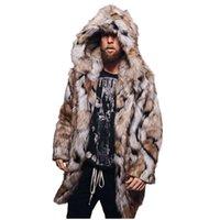Kış Kalınlaşmak Moda Ceketler Erkek Sıcak Leopar Kalın Kapüşonlu Ceket Ceket Faux Kürk Dış Giyim Gotik Palto Artı Boyutu # 3 Erkekler