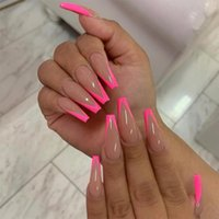False Nails 24pcs French Ballerina With Press Glue Detachable Wearable Artificial Pink Nail Full Cover Coffin Tips Manicure