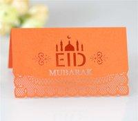 Eid Mubarak Parti Masa Kartı 100 adet / grup Ramazan Kağıt Oymak Düğün Festivali Koltuk Kartları Müslüman İslam Malzemeleri ZZE5695