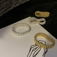 المجوهرات اليدوية بالجملة 925 فضة صف الخرزة الدائري الفرنسية أنيقة جولة حبة الأرز الخرز الخرز الوترية الخرز مزدوجة الفضة الدائري