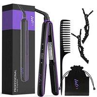 Lila svart hår rätare i.fm 2 i 1 keramik styling verktyg professionell curler negativ syre joner bärbar justerbar hög kvalitet med lager