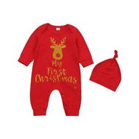 Christmas Born Baby Girls Boys Rompers Letter Deer Print Long Sleeve Jumpsuits Hat Outfit Autumn Clothes 0-18M