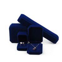 Caja de color azul de la joyería de terciopelo de terciopelo de la forma cuadrada Caja de color azul para collares Collares Pulseras Anillos Cuadros de pendiente Decoración