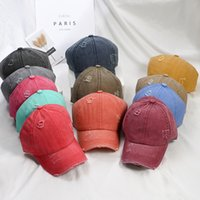 Ponytail baseball cap ripped tie-dye washed cotton driver hat outdoor sunscreen multicolor