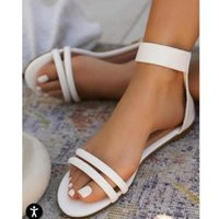 Sandals Women's Casual Beach Shoes Ladies Cover Heel Flat Breathable Thin Strap Footwear Concise Sandalias