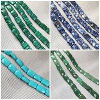 Piedra natural Facetada Forma cuadrada Agates de abalorios de cristal Cuentas dispersas para la joyería Fabricación de bricolaje Accesorios pulsera 880 T2