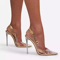 Dress Shoes Sapatos de salto transparente feminino, sapatos ponta fina com corrente, sensual, alto, estilo stiletto, casamento, MPJU