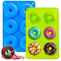 Pan di ciambelle in silicone Pan 6 cavità Donuts muffa Non bastone Cake Biscuit Bagels Stampo Vassoio Pasticceria Strumenti di cottura HWB11042