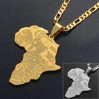 Anniyo Silver Color / Gold Color Африка карта с флагом подвесной цепи ожерелья африканские карты ювелирные изделия для женщин мужчин # 035321п